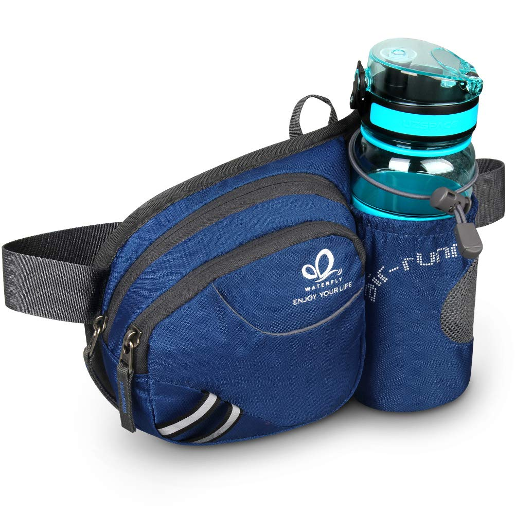 Waterfly Hiking Waist Bag Fanny Pack with Water Bottle Holder for Men Women Running & Dog Walking Can Hold iPhone8 Plus Screen Size 6.5inch (Sapphire Blue)