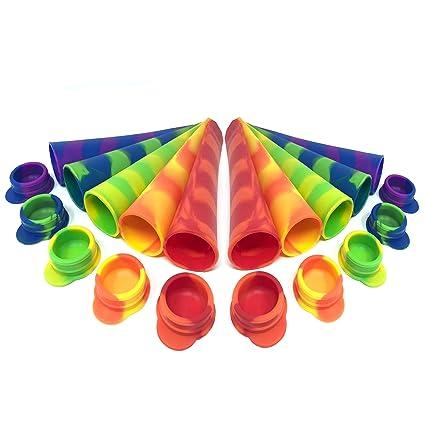 Compra 10 Moldes de Silicona Premium para Helados, Ice Pop, Ice Lolly - Libre de BPA - Tapas a Prueba de Fugas - Gran Capacidad 80ml - Reutilizable y Apto ...
