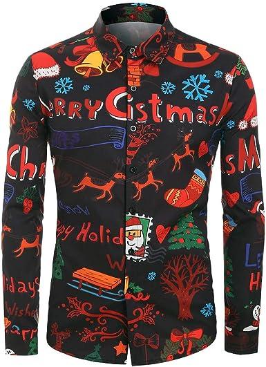 waotier Camisetas de Manga Larga Hombres Casual Navidad Animal Camisa Estampada de Navidad Botón Camisas Blusa: Amazon.es: Ropa y accesorios