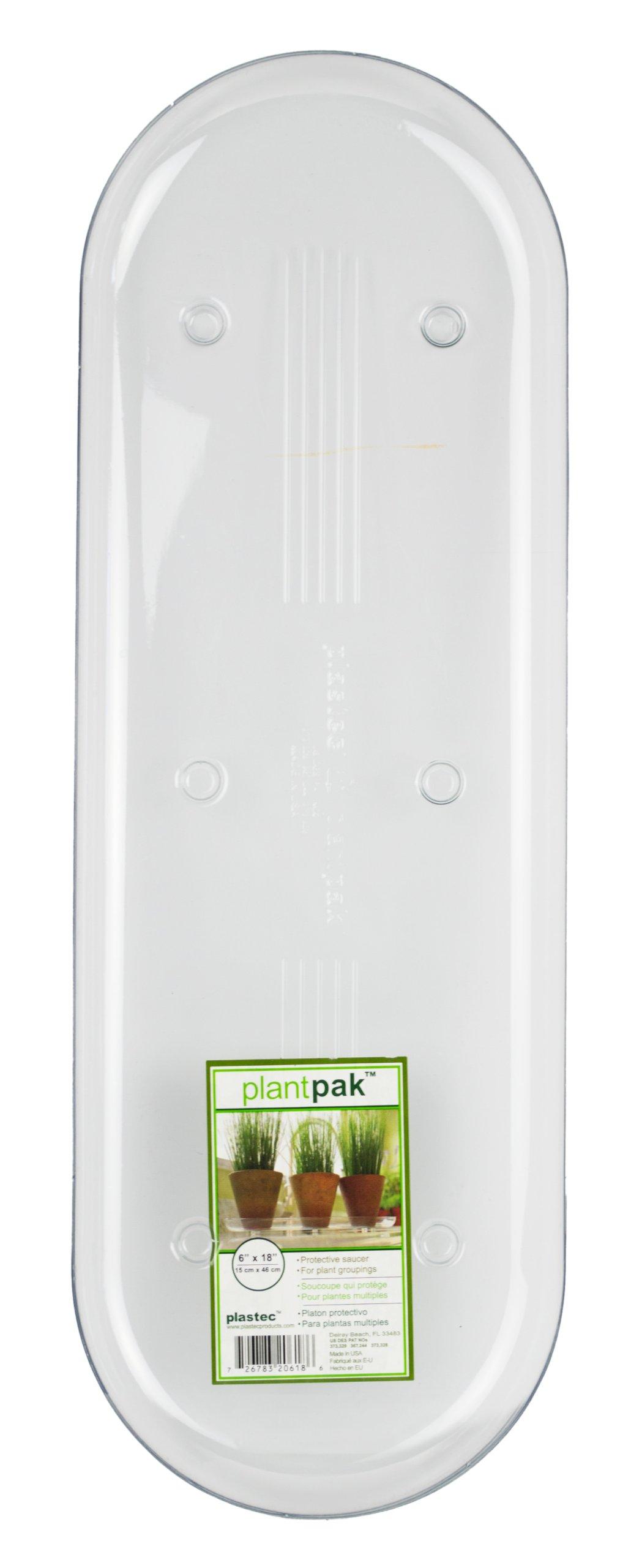 Plastec PLIPAK618 Oval Plantpak Saucer, Clear, 18-Inch