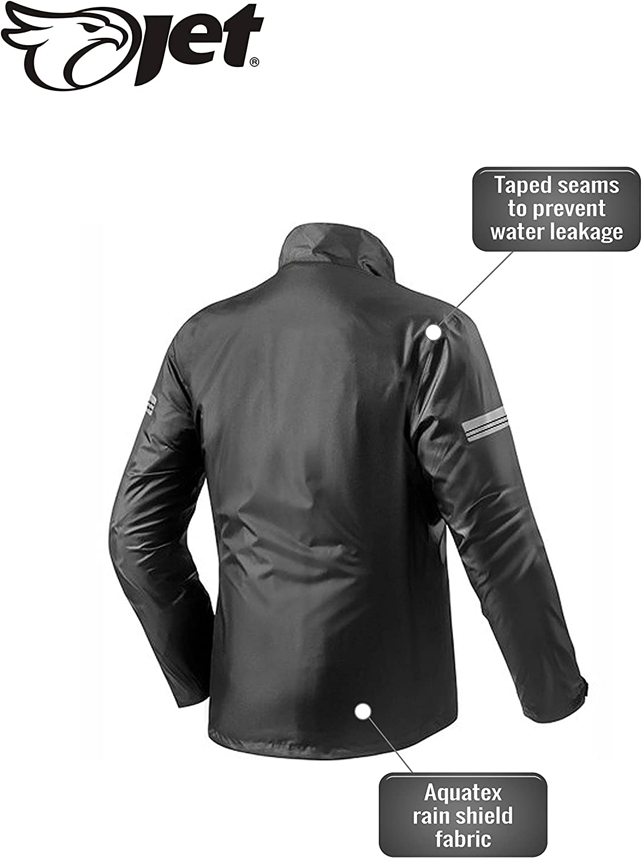 Jet Motorradjacke Regenjacke Regenbekleidung Wasserdicht mit Tragetasche 3XL, Schwarz