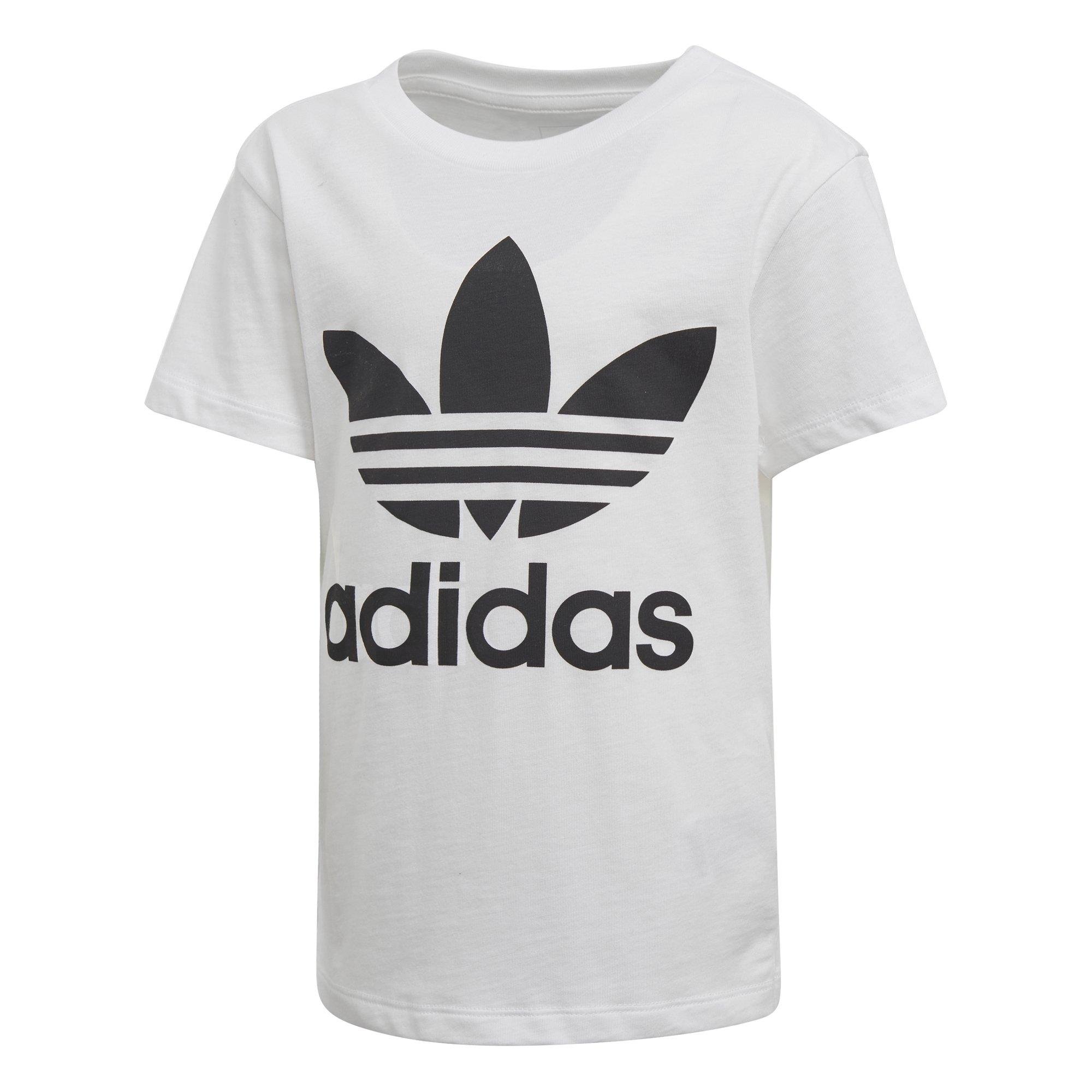 adidas Originals Big Boys' Trefoil Tee, White/Black, M