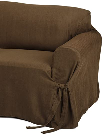 Heavy Duty Jacquard Fabric Solid Chocolate Brown Couch/sofa Cover Slipcover
