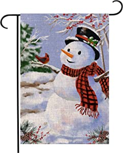 Pecsu Snowman with Plaid Scarf Garden Flag Vertical Double Sized, Home Decorative Christmas Greeting Bird Snowflake, Winter Holiday Christmas Burlap Yard Lawn Outdoor Decoration 12.5 x 18 Inch