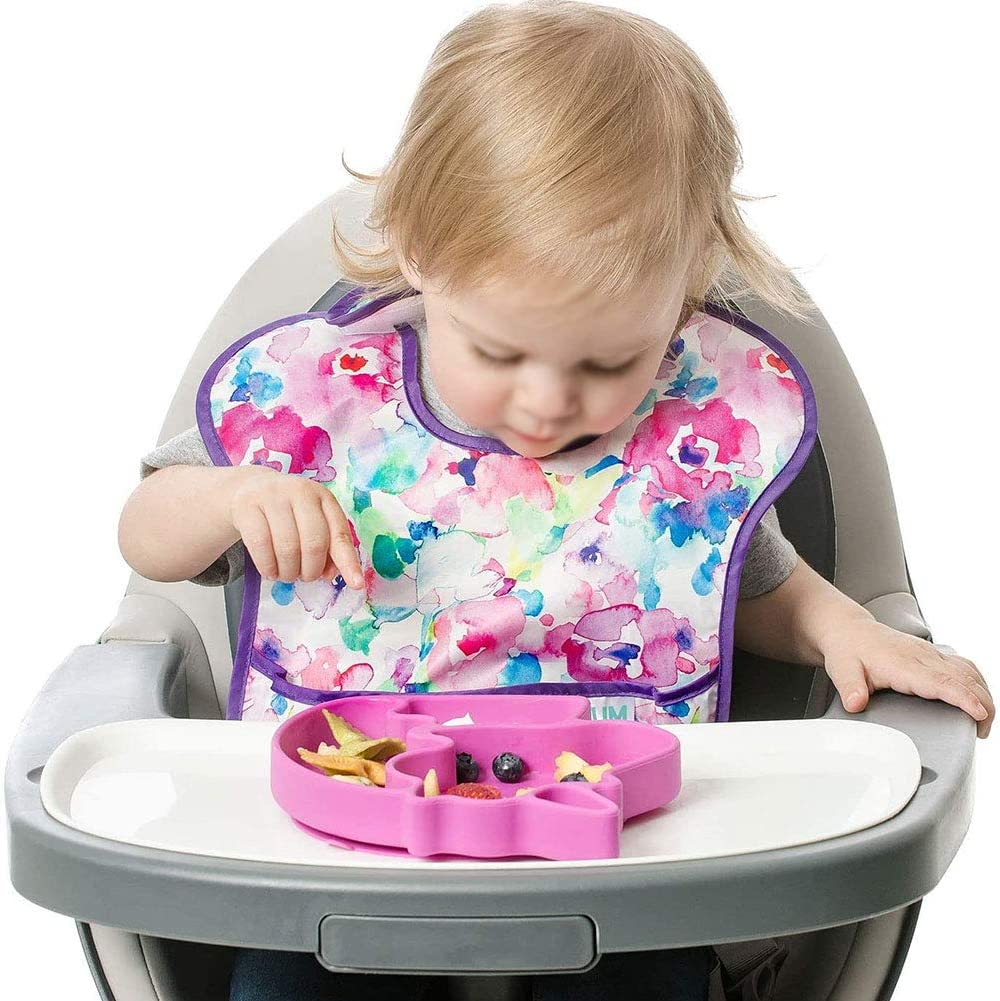 GOODGDN Plato Silicona beb/é con Ventosa Antideslizante,Modelo Unicornio,Material Seguro sin BPA Apto para microondas y lavavajillas