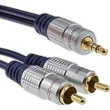 Pur HQ cuivre desoxygéné 3,5 mm Stéréo Jack Vers 2 RCA Cinch Fiches câble Plaqués Or 10 m