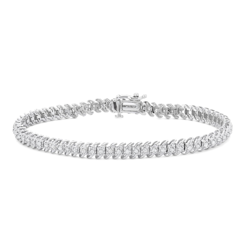 1 CTTW White Diamonds Tennis Bracelet in 10KT Gold (I-J, I1-I2) by Hdiamonds