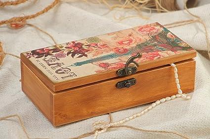 Caja para joyas de madera rectangular pintada a mano con acrilicos artesanal