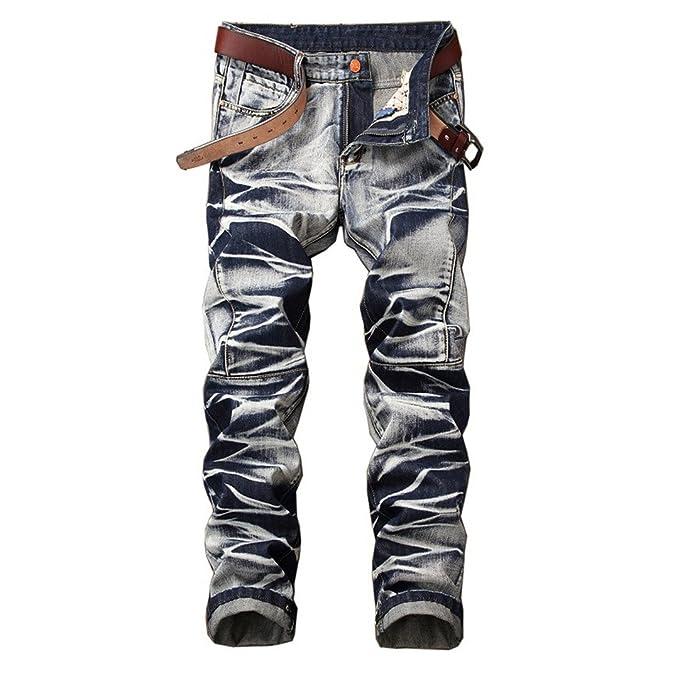 Los hombres Jeans Denim Hip-Hop angustiado lavado pantalones ...
