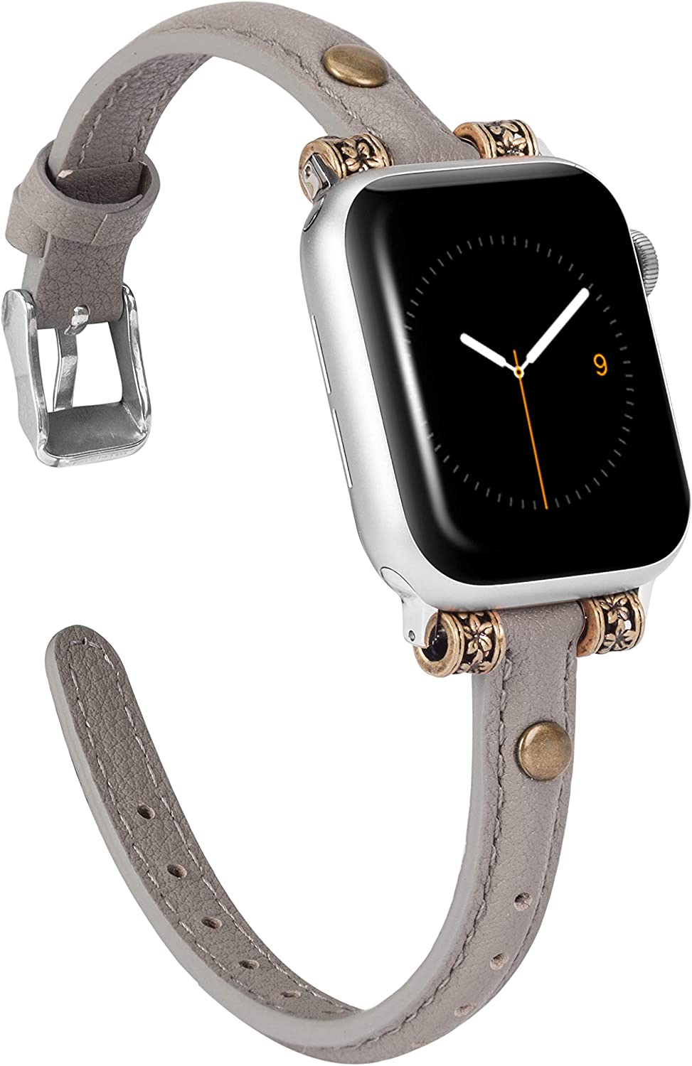 Wearlizer Leather Bands Compatible with Apple Watch Band 38mm 40mm for iWatch Womens Mens Special Slim Vintage Wristband Replacement Strap Series 5 4 3 2 1 Edition - Gray
