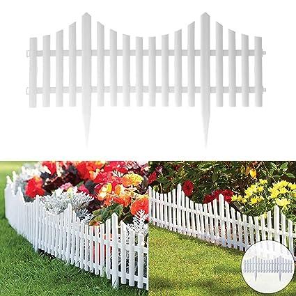 Fineway Set Of 4 Plastic Wooden Effect Lawn Garden Border Edge Edging Plant Picket Fencing Interlocking Panels For Flowerbeds White