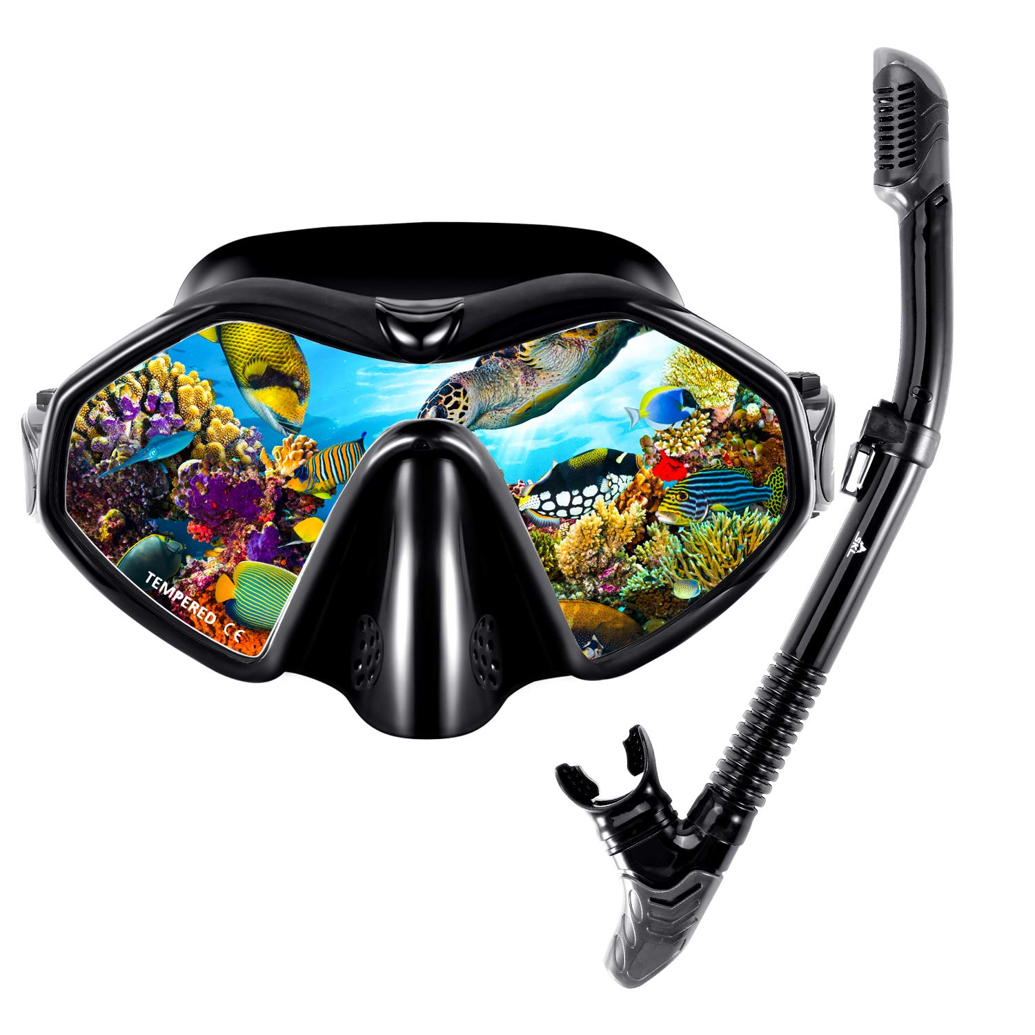 Premium Snorkel Set for Adult Anti Fog Diving Snorkel Mask with Panoramic Tempered Glass, Free Breathing Anti-Leak Dry Top Snorkel by SKL