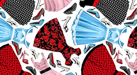 Moda Tela - por 0,5 Metre - 1960 de la moda vestidos zapatos - por ...