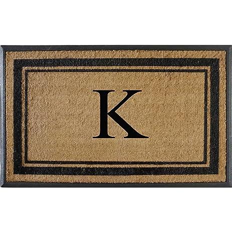 First Impressions Markham Border Double Door, Doormat, Monogrammed K,  X Large