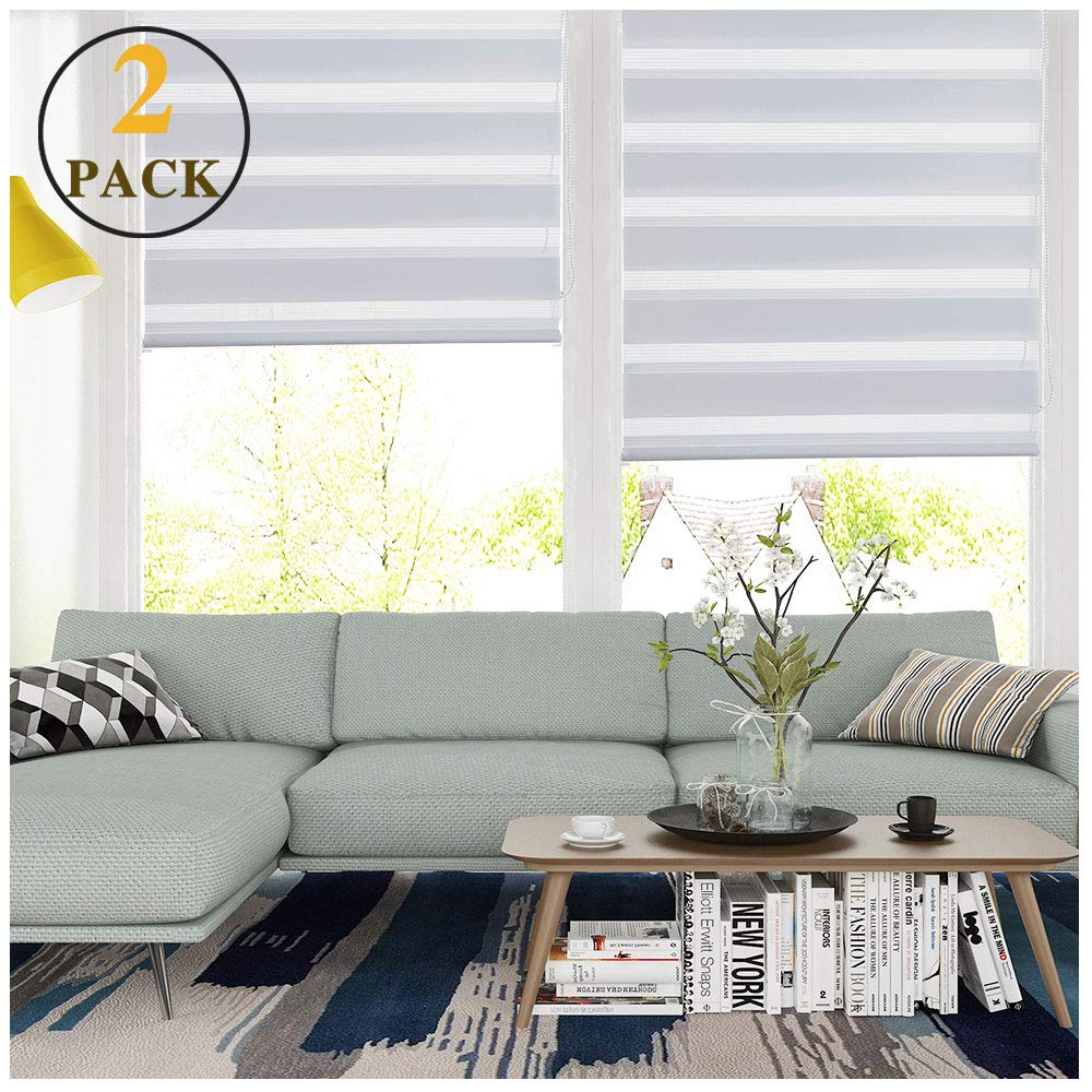 LUCKUP Horizontal Window Shade Blind Zebra Dual Roller Blinds Day and Night Blinds Curtains,Easy to Install 35.4'' x 59'' (2 Pack), White by LUCKUP