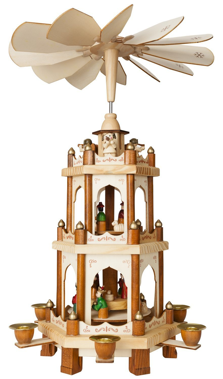 Christmas decoration with candles that spins - Amazon Com Christmas Decoration Pyramid 18 Inches Nativity Play 3 Tier Carousel With 6 Candle Holders Brubaker Design From Germany Home Kitchen