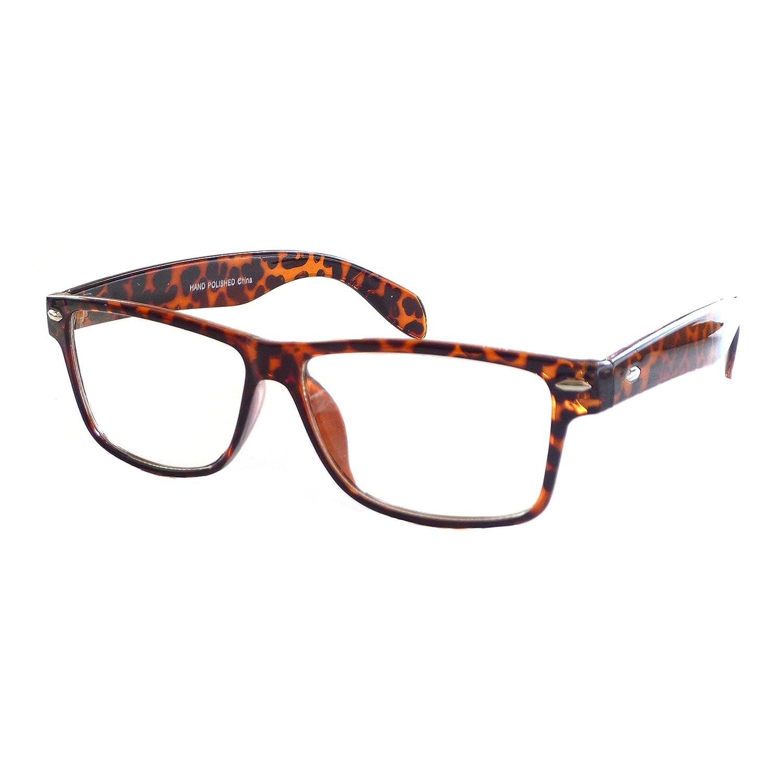 57b08307080 Amazon.com  VINTAGE Nerd Geek 2 color Frame Clear Lens Eye Glasses  TORTOISE  Clothing