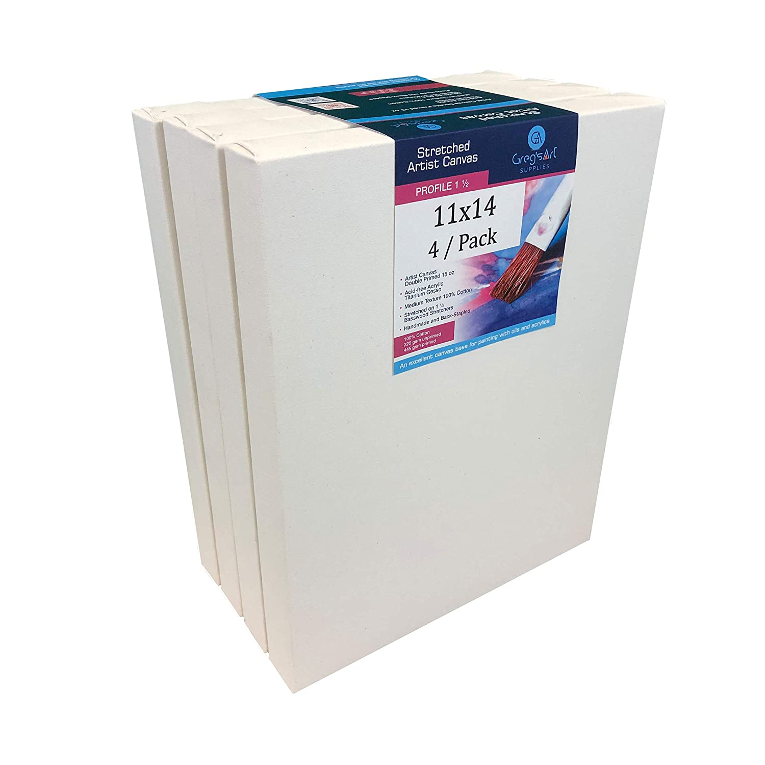 """Double Primed with Acrylic Gesso 15 oz 8 x 8 4 // Pack On 1 /½/"""" Stretcher Bars Acrylic Paints /& Mixed Media Applications Suitable for Oil North American Made Artist Canvas Back Stapled"""