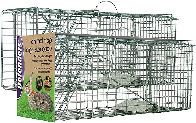 Defenders Animal Trap Cage - (Trampa humana fácil de instalar para conejos, gatos y fauna silvestre de tamaño similar, apta para uso en interiores y exteriores) - Tamaño grande