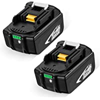 Powerextra 2 stuks reserveaccu 18V 5500mAh Li-ion batterij voor Makita BL1815 BL1830 BL1840 BL1850