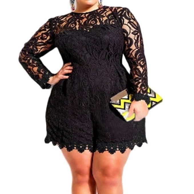 emmarcon Elegante Tuta Pantaloncini Corti Abito Cerimonia da Donna Vestito  in Pizzo Taglia plus-Black-4XL  Amazon.it  Abbigliamento c4297bb259d
