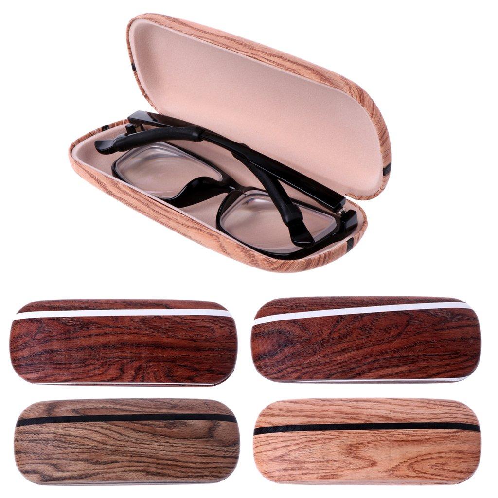 YDZN Portable Glasses Case,Wood Grain Hard Shell Eye Eyewear Box Sunglasses Protector Storage Bag
