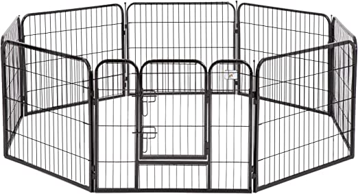 BestPet Dog Pen Dog Playpen Extra Large Indoor Outdoor Dog Fence Heavy Duty 8 Panels 32 Inches Exercise Pen Dog Crate Cage Kennel