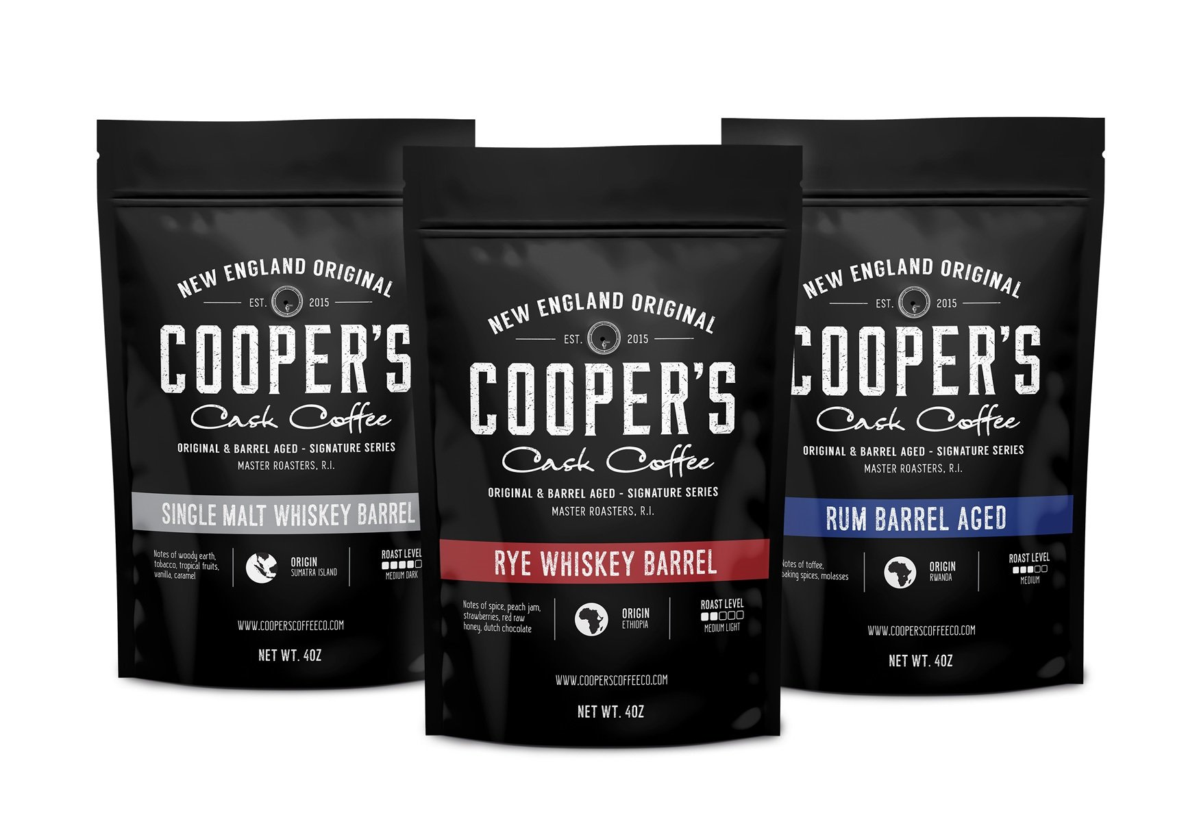 Whiskey & Rum Barrel Aged Coffee Whole Bean Box Set, 3 Bags Gift Box Set, Coffee Sampler Set - Single Origin Sumatra Whiskey, Ethiopian Rye, Rwanda Rum Roasted Coffee Beans, 100% Guaranteed by Cooper's Cask Coffee