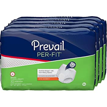Prevail Per-Fit Extra Absorbency Incontinence Underwear, Medium, 20-Count (Pack of 4)