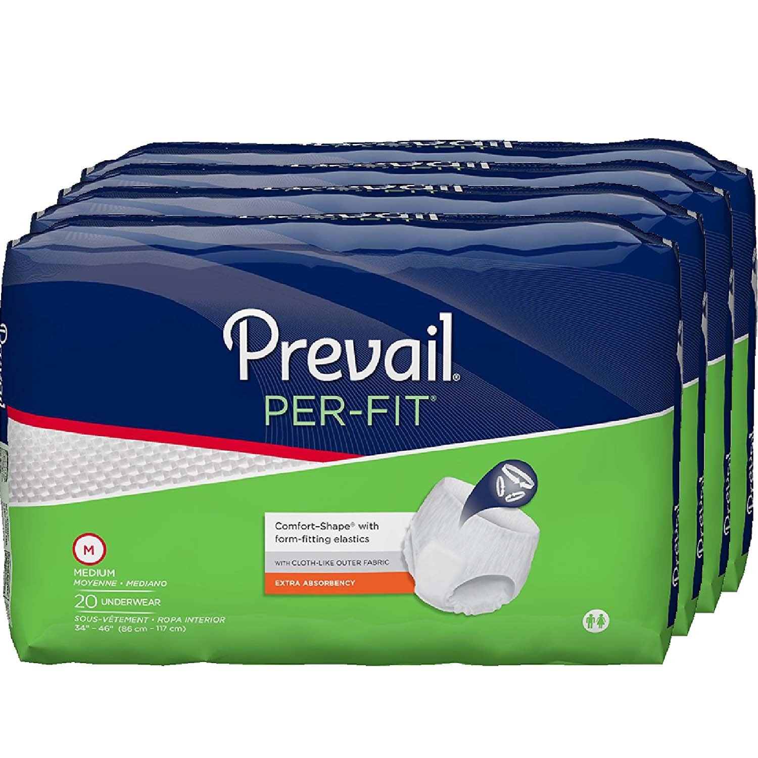Prevail Per-Fit Extra Absorbency Incontinence Underwear, Medium, 20-Count (Pack