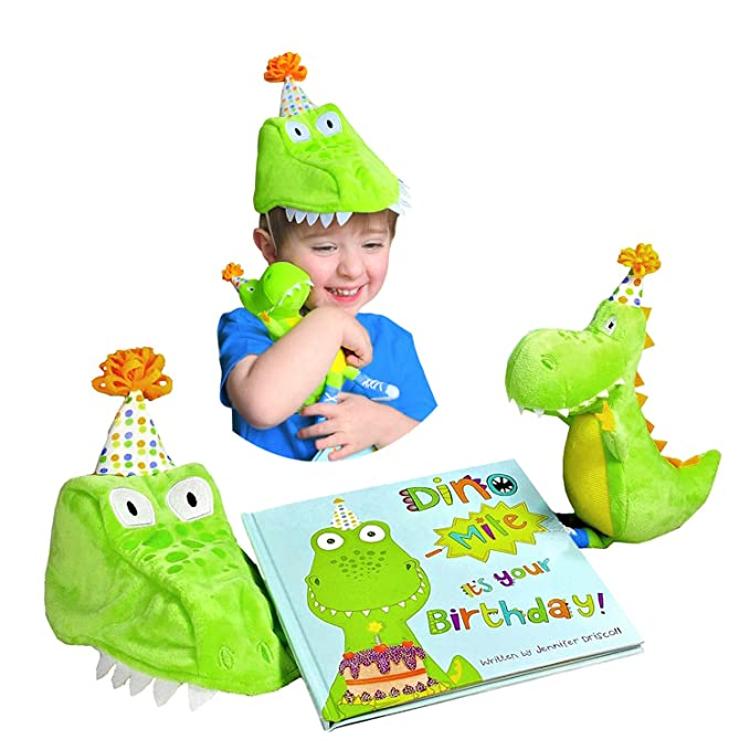 Tickle & Main Dinosaur Birthday Gift for Boys - Includes Book, Dinosaur Plush Toy, and Keepsake Party Hat for Boys Age 1 2 3 4 5 Years Old - Dino-Mite Itâ??s Your Birthday!