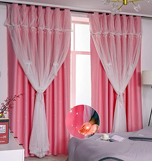 """Amazon.com: Yancorp Blackout Curtains for Bedroom Living Room Darkening  Pink Curtain White Sheer Window Linen Tie Backs Drapes Star Cutout Kitchen  Gray Blue Purple 84 inch 96"""" (Pink-Star Cutout, 52""""x84""""): Kitchen &"""