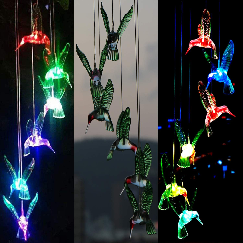 BeHiller Hummingbird Solar Lights Chimes Changing Color Bird Solar Hanging Lights Six LED Hummingbird Lights Mobile Wind Chimes Outdoor hummingbird lights for Garden Gifts Decoration (Six Hummingbird) : Garden & Outdoor