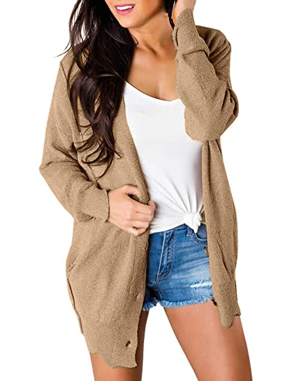 3d3d911c823 Lookbook Store Womens Open Front Knitwear Scalloped Hem Buttons Sweater  Cardigan at Amazon Women s Clothing store