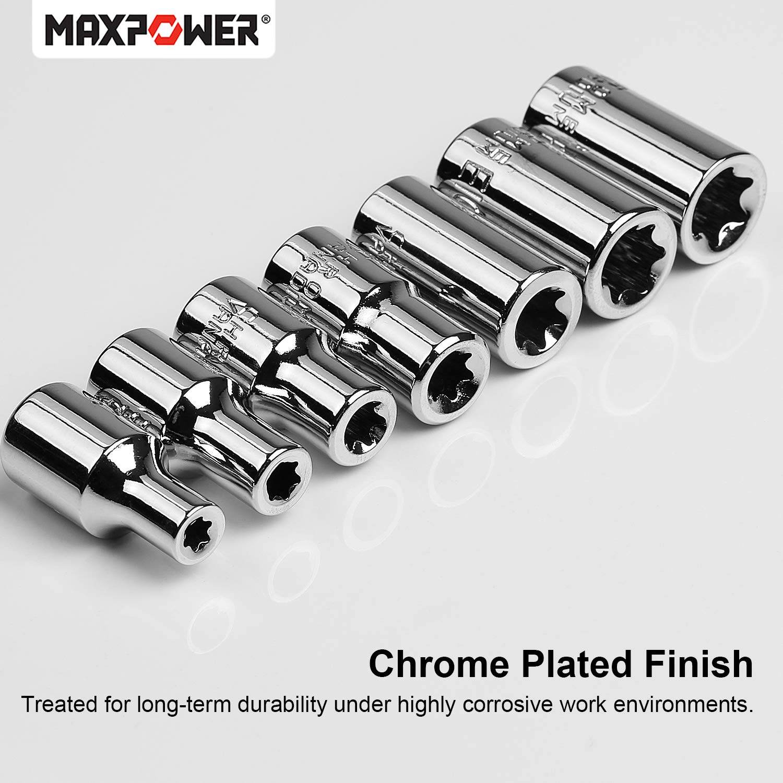 7 Pieces MAXPOWER 1//4-Inch Drive Star Socket Set Female Torx Socket Set Cr-V E4-E11