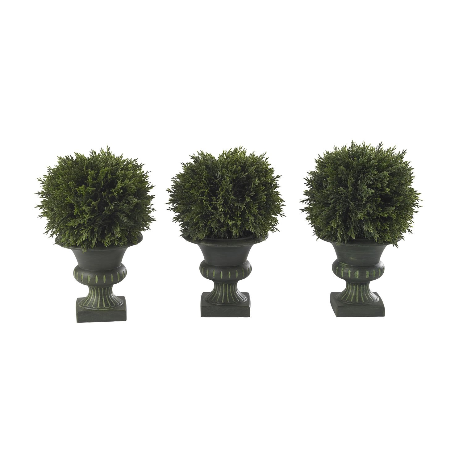 Nearly Natural 4761 Cedar Ball Topiary, 9-Inch, Green/Black, Set of 3