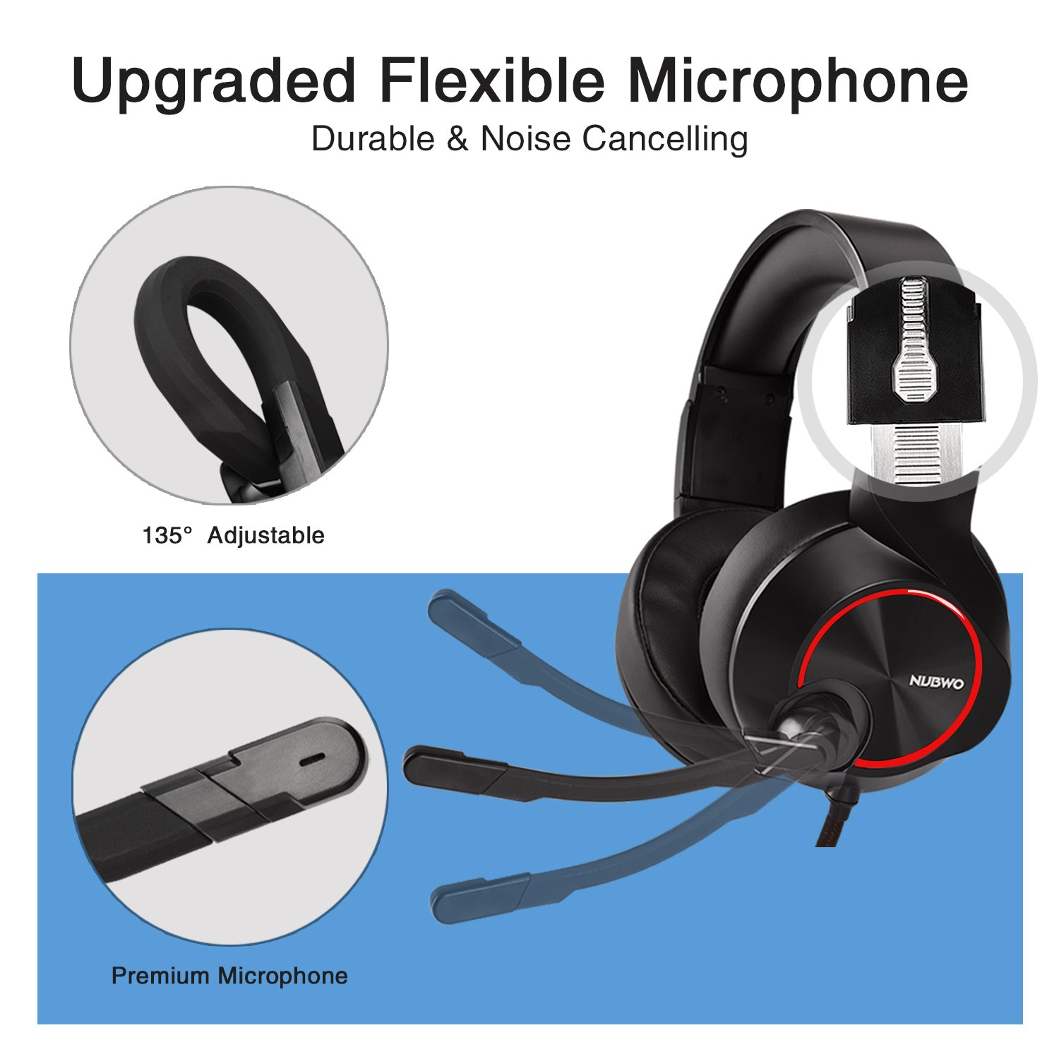 Gaming Headset PS4 3.5mm Wired Stereo Comfort Over-Ear Gaming Headphones with Noise Canceling Mic and Volume Control for Xbox one PC PS4 Smartphones Tablet Computer
