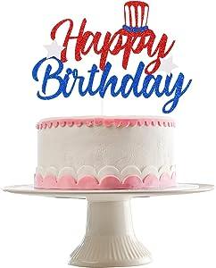 Happy Birthday Cake Topper Red & White & Blue Glitter- 4th/Fourth of July Patriotic Birthday Decorations,4th of July Birthday Topper, Red White and Blue Birthday Cake Decor