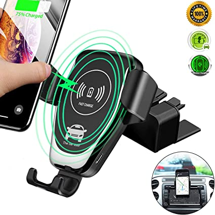 Car Phone Holder Fits for iPhone 11//11 Pro//11 Pro Max//X//XS//XS Max//XR//8 Plus and Samsung S10//S10+//S10E//S9//S9+//Note9//S8+ 10W Fast Charging Qi Wireless Car Charger,CD Slot Phone Mount Infrared-Sensing