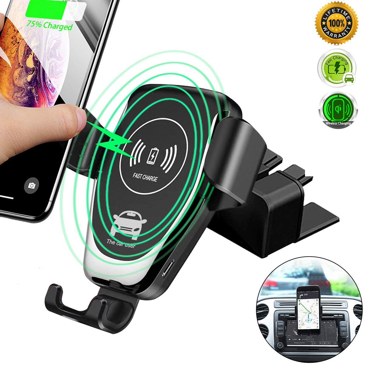 fire Cable Auto Clamping Wireless Car Charger w//New Auto Holding Cradle fC Air Vent Mount is Foam Backed for Scratch Protection