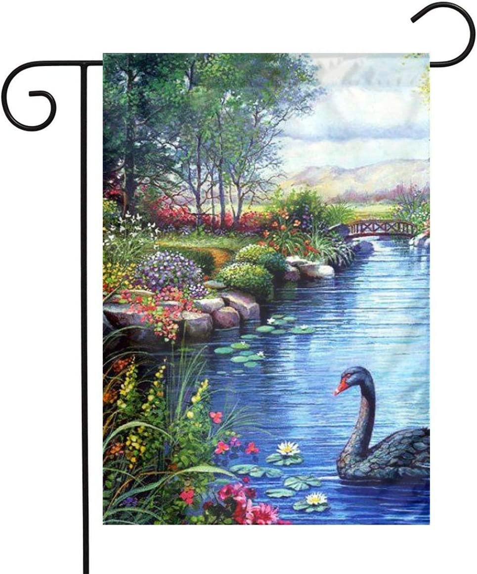 Pooizsdzzz Black Swans River Flowers Painting Festival Garden Flag Front Door Flag Decorative Home Outdoor Flag 1218 Inch
