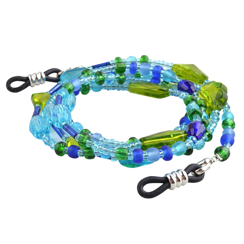 10pcs Handmade Blue Beaded Eyeglass Cord Sunglasses Glass Beads Rope Eyewear Chain by RHYS DOBSON