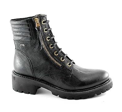 Nero Giardini BLACK JARDINS 16532 femme Bottes noires des attaches amphibies Nero - Chaussures Bottine Femme