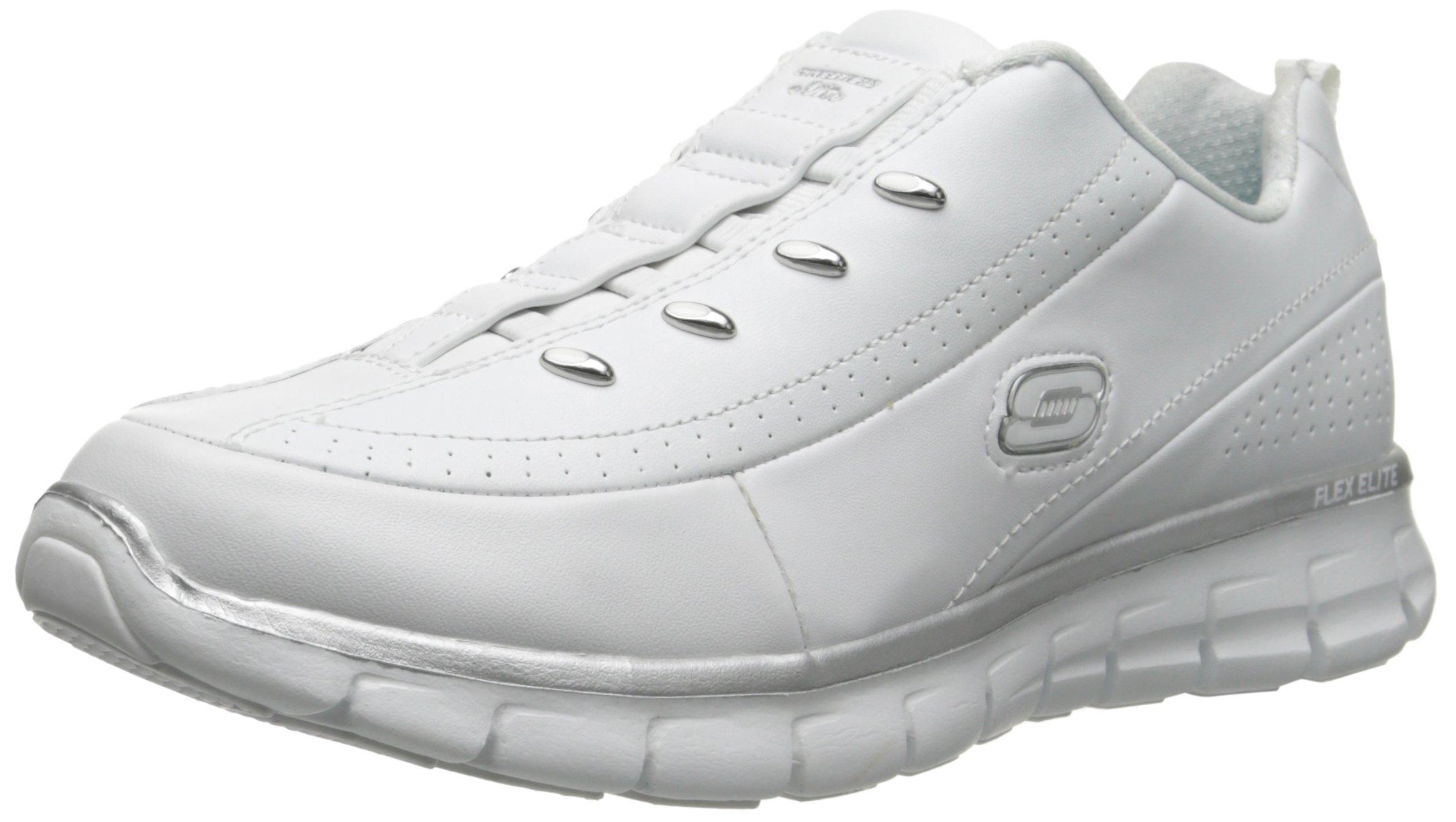Skechers Sport Women's Elite Class Fashion Sneaker, White/Silver, 10 M US