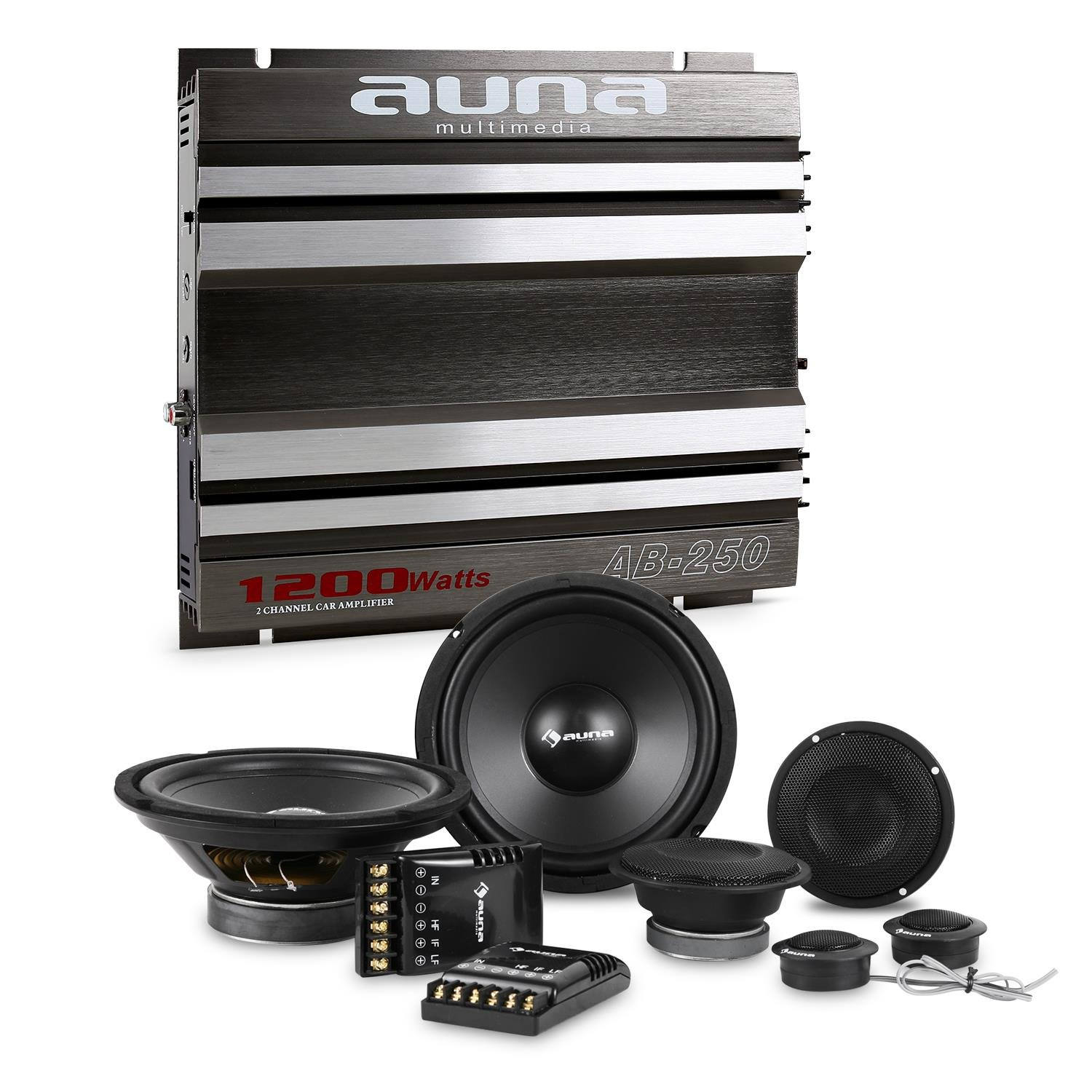 electronic star auna CS-Comp-8 Set HiFi Tuning Voiture (Enceintes, amplificateur 2 canaux, 2 x subwoofers 1 200 Watts et 2 x mé diums de 1 200 Watts) 2 x subwoofers 1 200 Watts et 2 x médiums de 1 200 Watts) PL-5698-1277