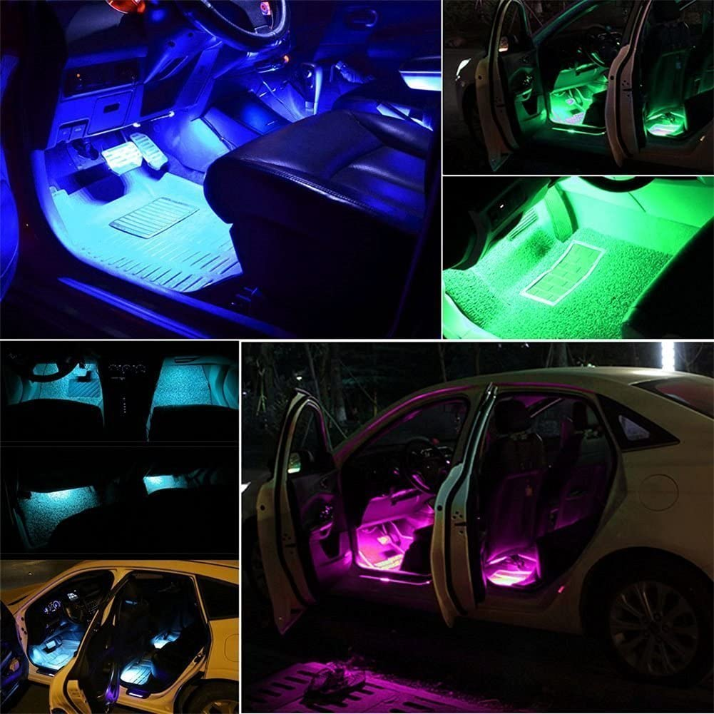 Wireless Remote Control and Smart USB Port Adecorty Car LED Strip Light 4pcs 72 LED Multicolor Music Car Interior Atmosphere Lights USB LED Strip for Car TV Home with Sound Active Function