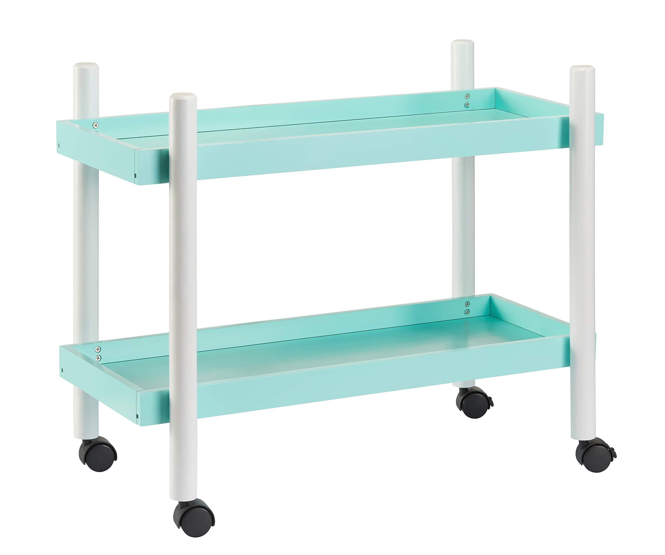 Mainstays Kids 2-Tier Storage Cart (Mint)