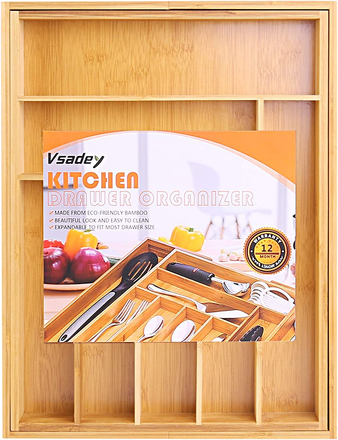 VSADEY Kitchen Drawer Organizer Bamboo Expandable Utensil Silverware Organizer Flatware and Silverware 9 Compartments Compact Cutlery Tray Organizer Holder for Kitchen Utensils
