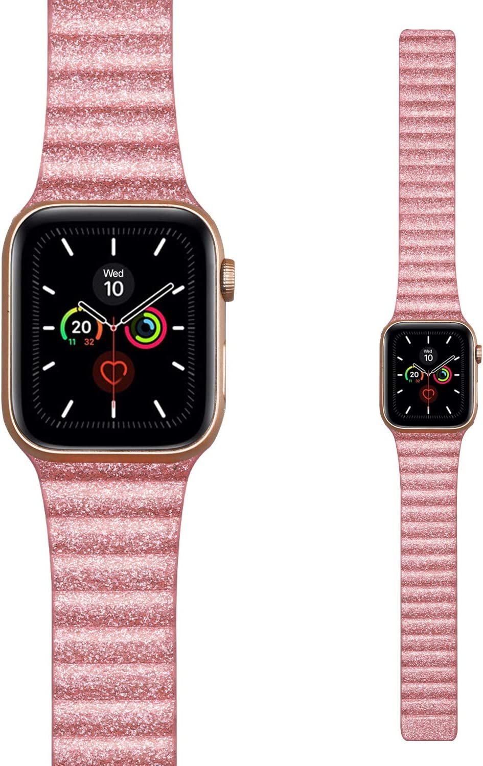 Lkeity For Apple Watch Band Leather Loop 38mm 40mm Luxury Glitter Wristband Shiny Slim Leather Strap With Strong Magnetic For Iwatch Series 5 4 3 2 1 Women Girls Bling Pink