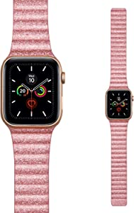 LKEITY for Apple Watch Band Leather Loop 38mm 40mm, Luxury Glitter Wristband Shiny Slim Leather Strap with Strong Magnetic for iWatch Series 5/4/3/2/1 Women Girls Bling Pink